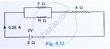 the following circuit diagram (fig   8 51) shows three resistors 2�, 4� and  r� connected to a battery of e m f 2 v and internal resistance 3�