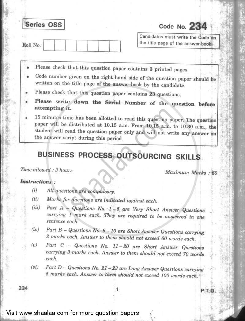 Question Paper - Business Process Outsourcing Skills 2009 - 2010 - CBSE 12th - Class 12 - CBSE (Central Board of Secondary Education)