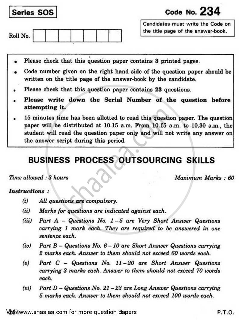 Question Paper - Business Process Outsourcing Skills 2010 - 2011 - CBSE 12th - Class 12 - CBSE (Central Board of Secondary Education) (CBSE)