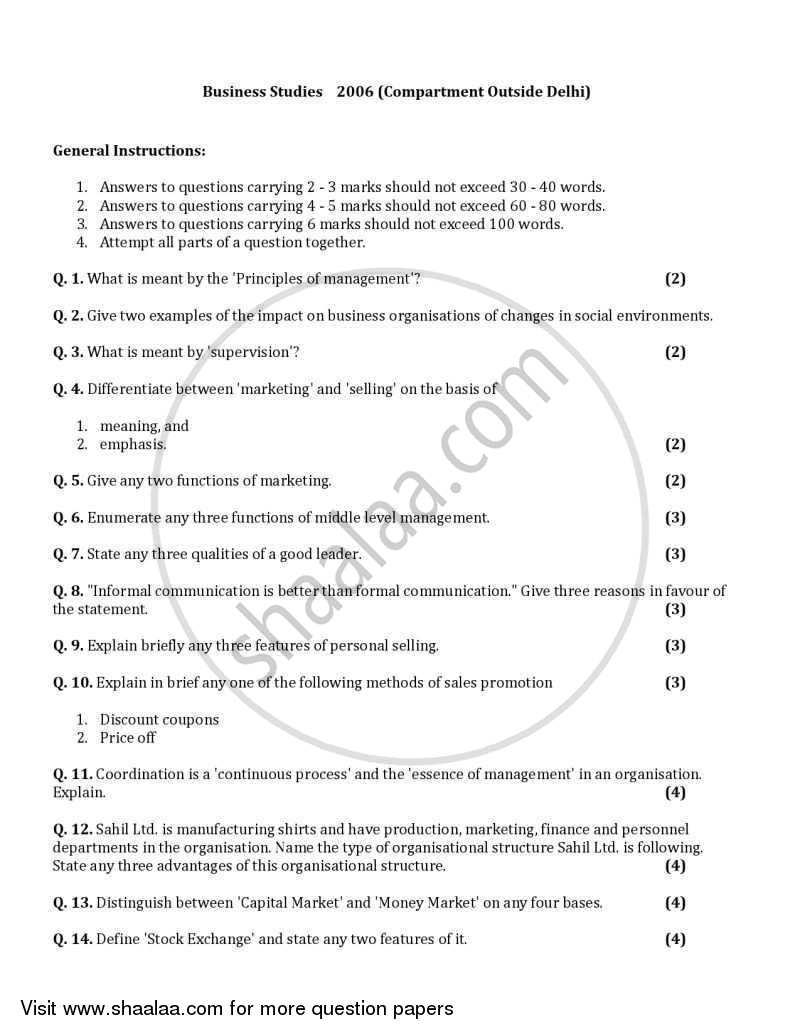Business Studies 2005-2006 - CBSE 12th - Class 12 - CBSE (Central Board of Secondary Education) question paper with PDF download