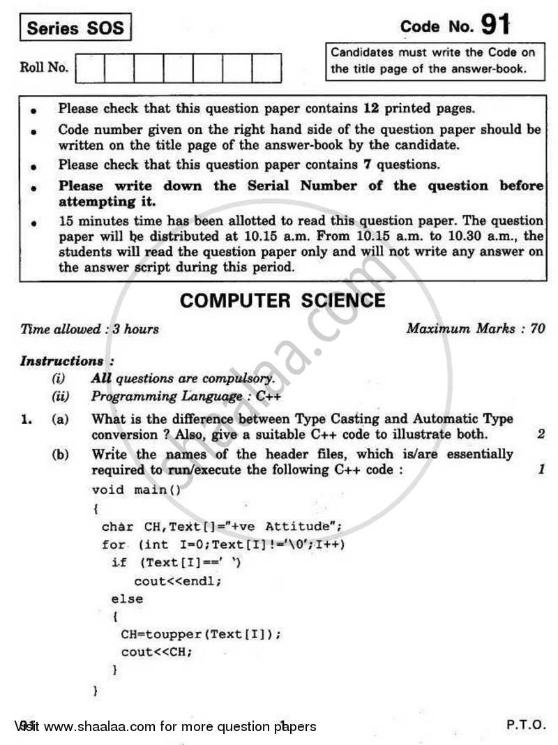 Question Paper - Computer Science (Python) 2010 - 2011 - CBSE 12th - Class 12 - CBSE (Central Board of Secondary Education)