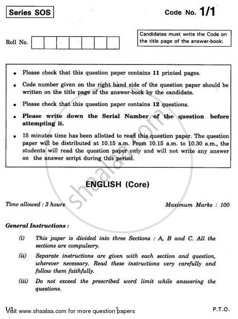 Question Paper - English Core 2010 - 2011 - CBSE 12th - Class 12 - CBSE (Central Board of Secondary Education) (CBSE)