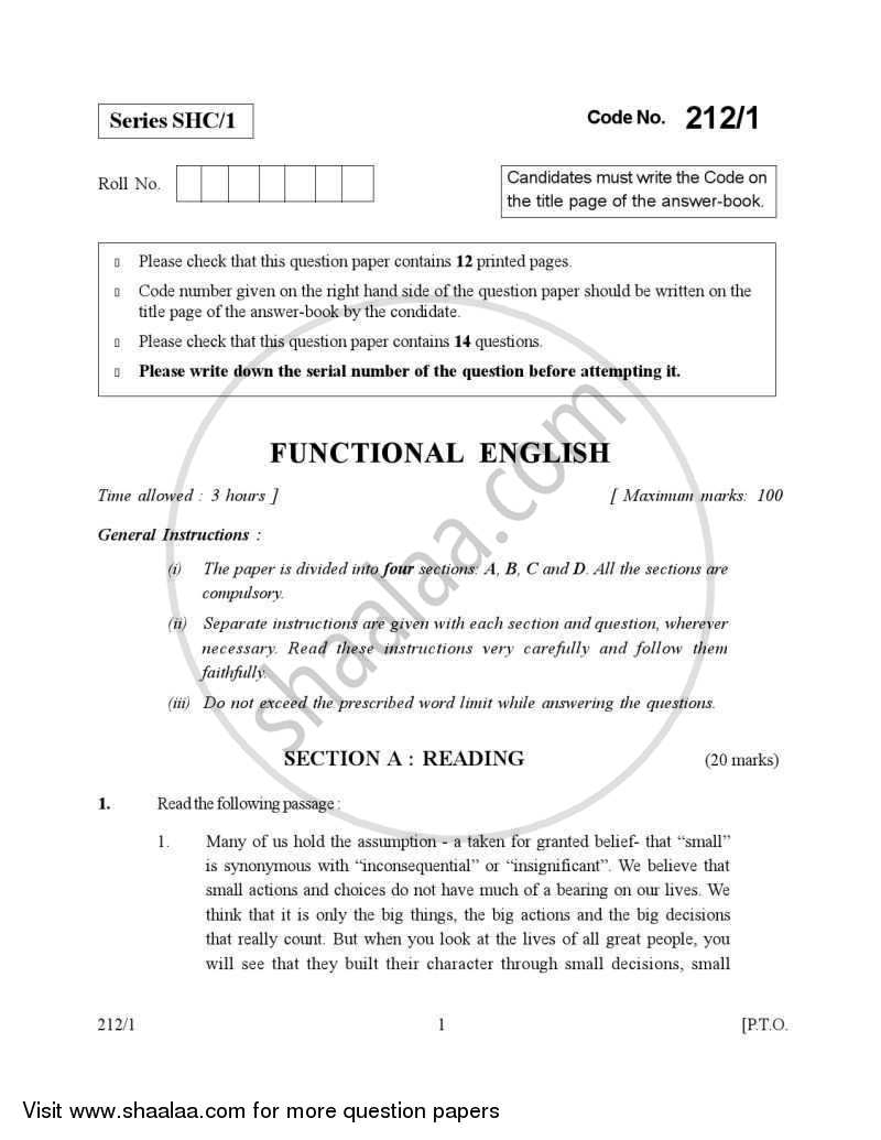 English Elective - CBSE (Functional English) 2006-2007 - CBSE 12th - Class 12 - CBSE (Central Board of Secondary Education) question paper with PDF download
