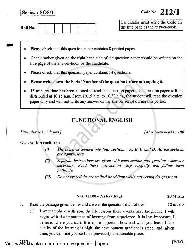 Question Paper - English Elective - CBSE (Functional English) 2010 - 2011 - CBSE 12th - Class 12 - CBSE (Central Board of Secondary Education)