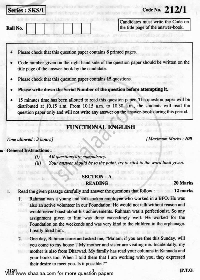 Question Paper - English Elective - CBSE (Functional English) 2012 - 2013 - CBSE 12th - Class 12 - CBSE (Central Board of Secondary Education)