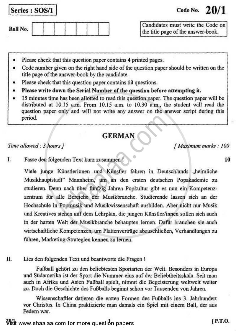 German 2010-2011 - CBSE 12th - Class 12 - CBSE (Central Board of Secondary Education) question paper with PDF download