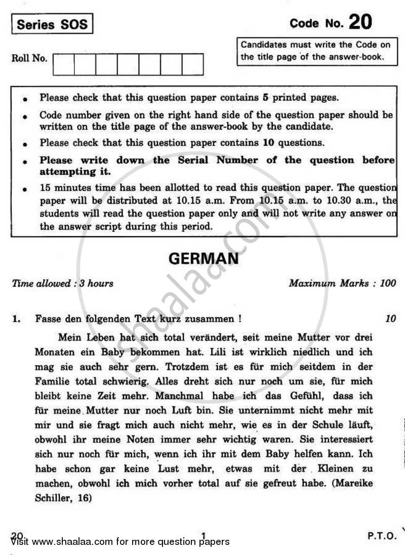 Question Paper - German 2010 - 2011 - CBSE 12th - Class 12 - CBSE (Central Board of Secondary Education)