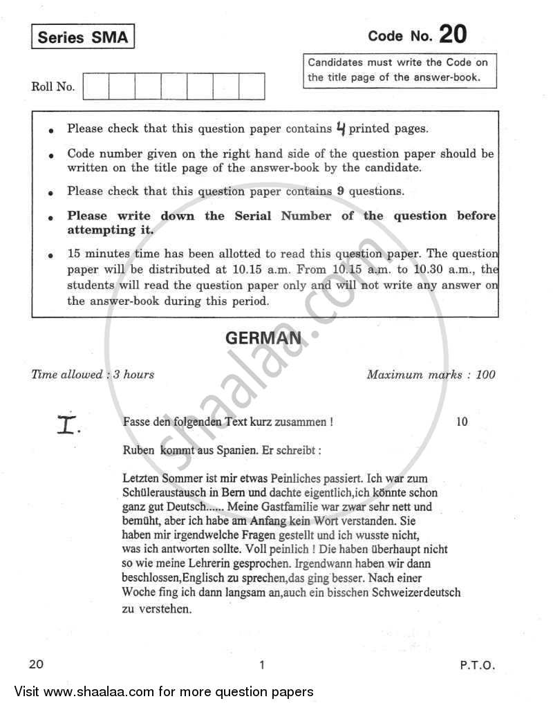 Question Paper - German 2011 - 2012 - CBSE 12th - Class 12 - CBSE (Central Board of Secondary Education)