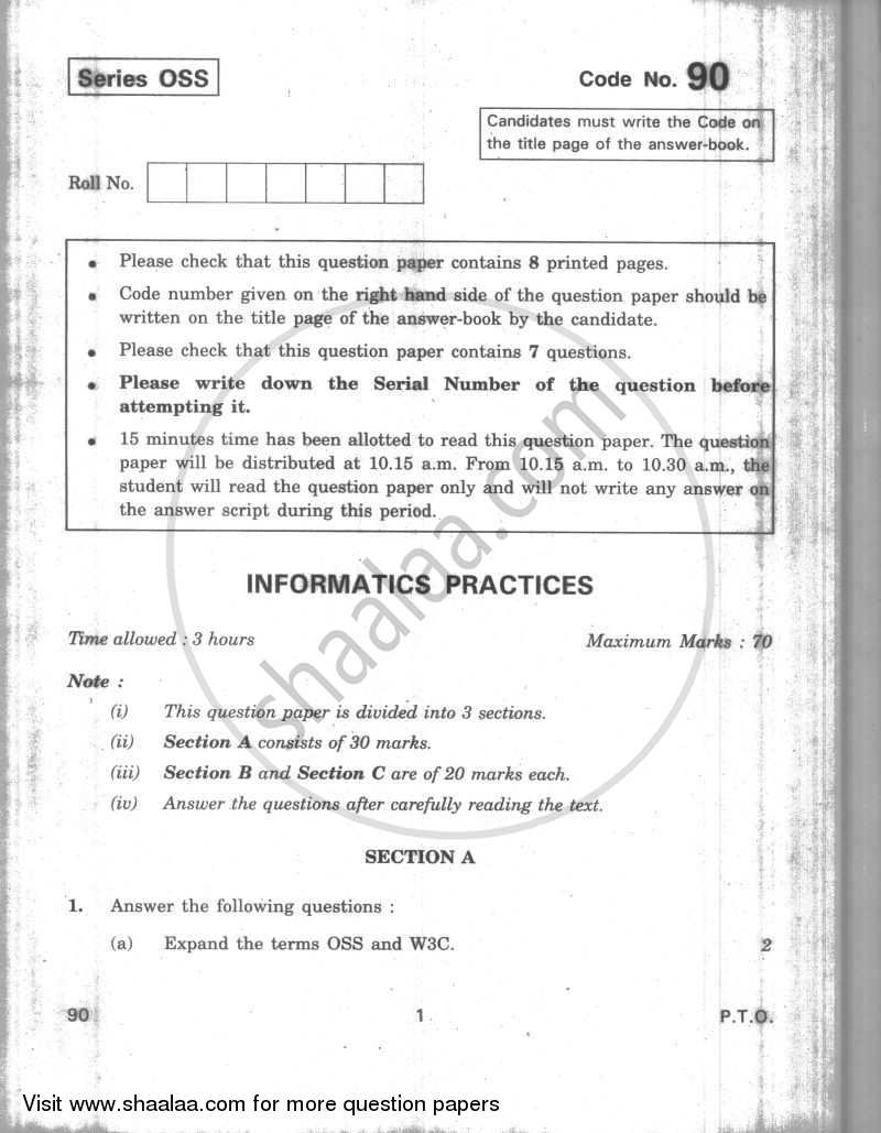 Question Paper - Informatics Practices 2009 - 2010 - CBSE 12th - Class 12 - CBSE (Central Board of Secondary Education)