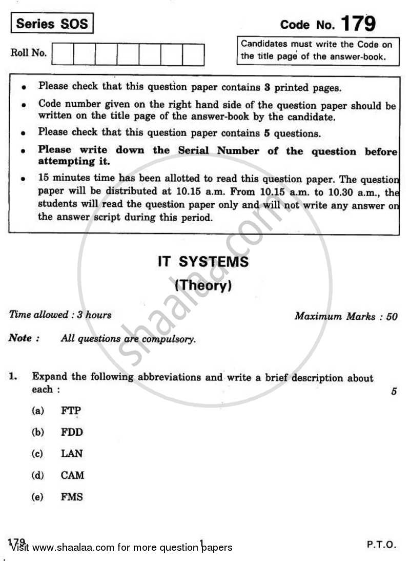 Question Paper - IT Systems 2010 - 2011 - CBSE 12th - Class 12 - CBSE (Central Board of Secondary Education)