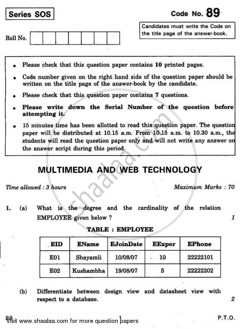 Question Paper - Multimedia and Web Technology 2010 - 2011 - CBSE 12th - Class 12 - CBSE (Central Board of Secondary Education)