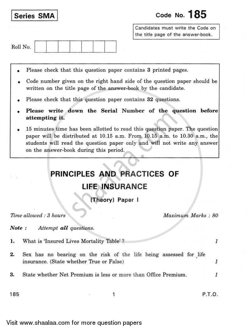 Question Paper - Principles and Practices of Life Insurance 2011 - 2012 - CBSE 12th - Class 12 - CBSE (Central Board of Secondary Education)