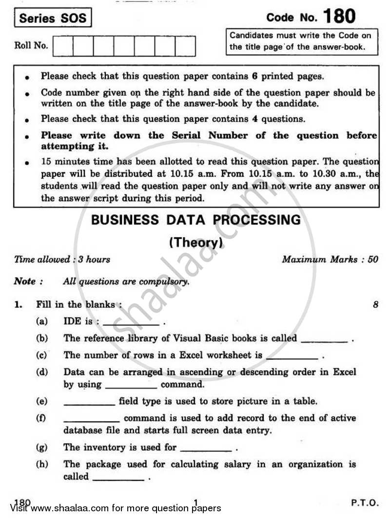 Question Paper - Business Data Processing 2010 - 2011-CBSE 12th-12th CBSE