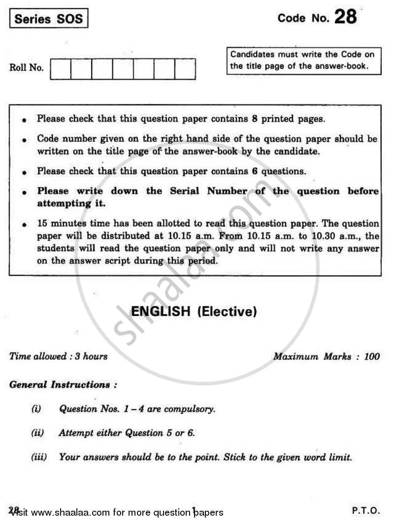 Question Paper - English Elective 2010 - 2011-CBSE 12th-12th CBSE