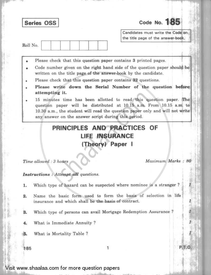 Question Paper - Principles and Practices of Life Insurance 2009 - 2010-CBSE 12th-12th CBSE