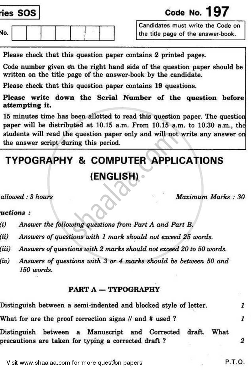 Typography and Computer Applications (English) 2010-2011 Class 12 - CBSE (Central Board of Secondary Education) question paper with PDF download