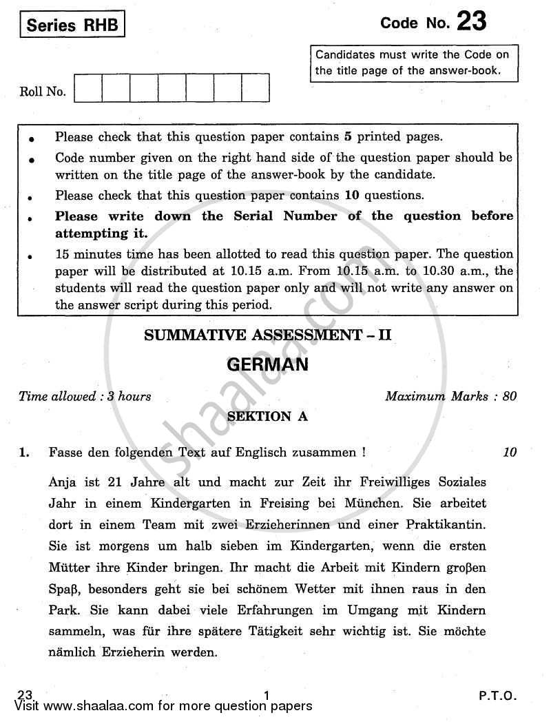 German 2010-2011 Class 10 - CBSE (Central Board of Secondary Education) question paper with PDF download