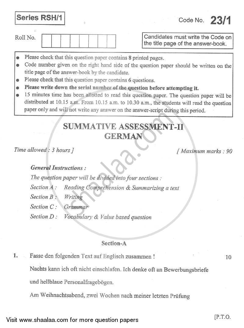 German 2012-2013 Class 10 - CBSE (Central Board of Secondary Education) question paper with PDF download