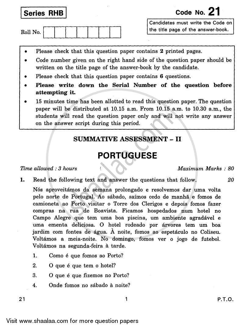 Question Paper - Portuguese 2010 - 2011 Class 10 - CBSE (Central Board of Secondary Education)