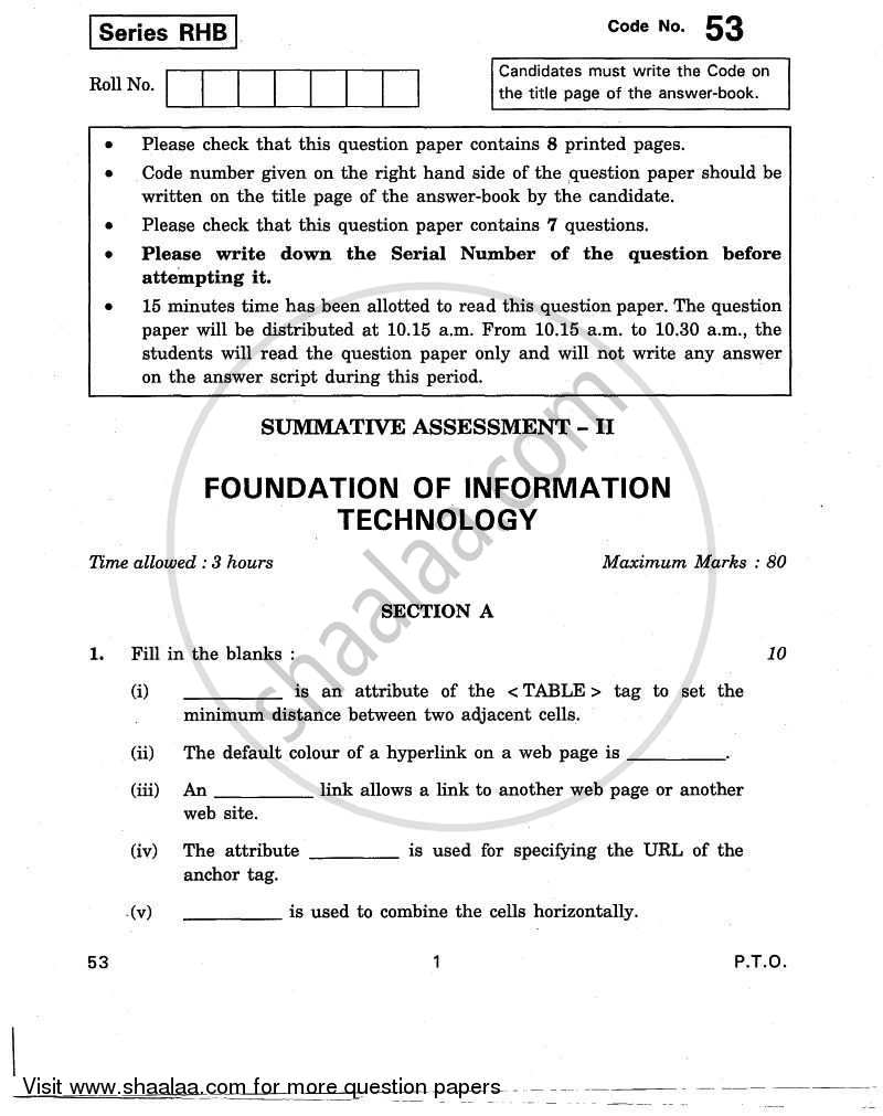 Question Paper - Foundation of Information Technology 2010 - 2011 10th CBSE
