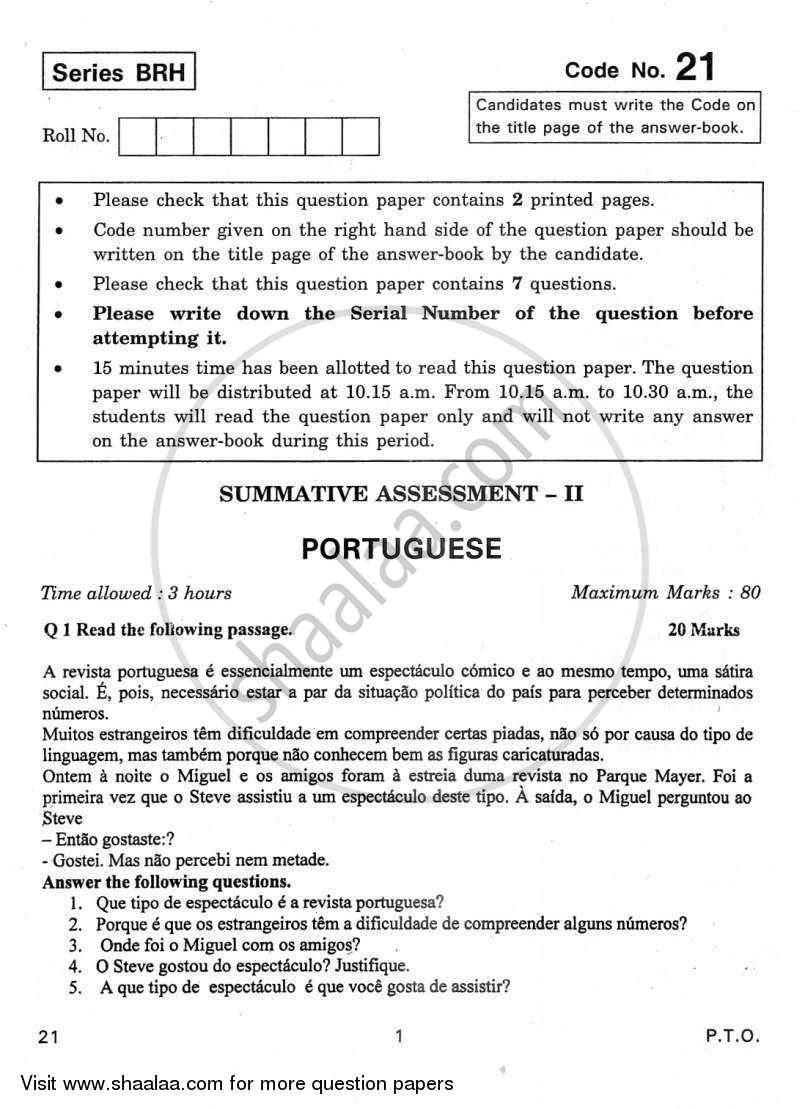 Question Paper - Portuguese 2011 - 2012 Class 10 - CBSE (Central Board of Secondary Education)