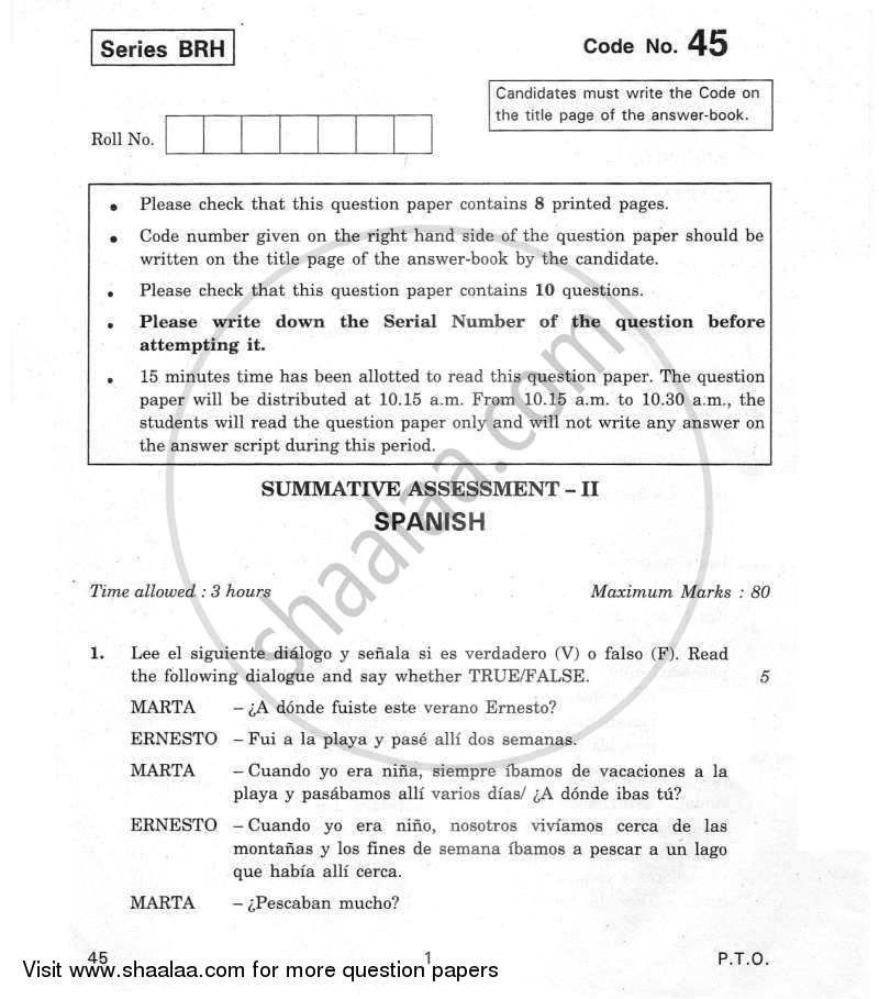Question Paper - Spanish 2011 - 2012 Class 10 - CBSE (Central Board of Secondary Education) (CBSE)