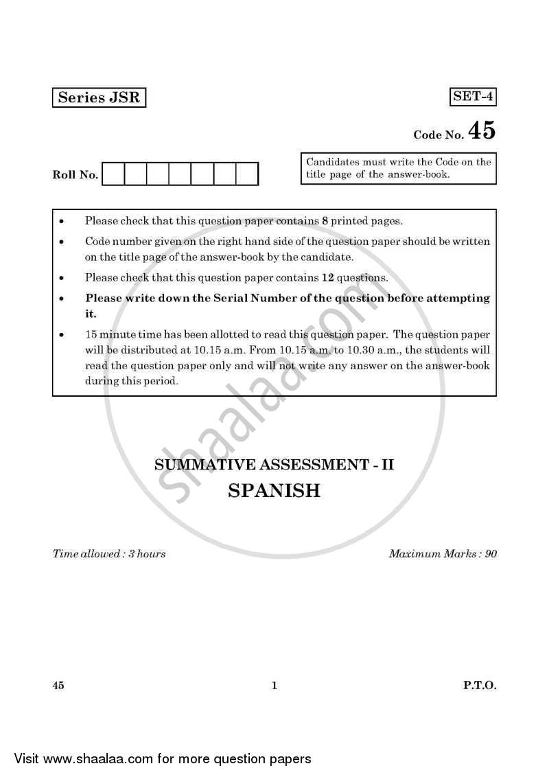 Question Paper - Spanish 2015 - 2016 Class 10 - CBSE (Central Board of Secondary Education)
