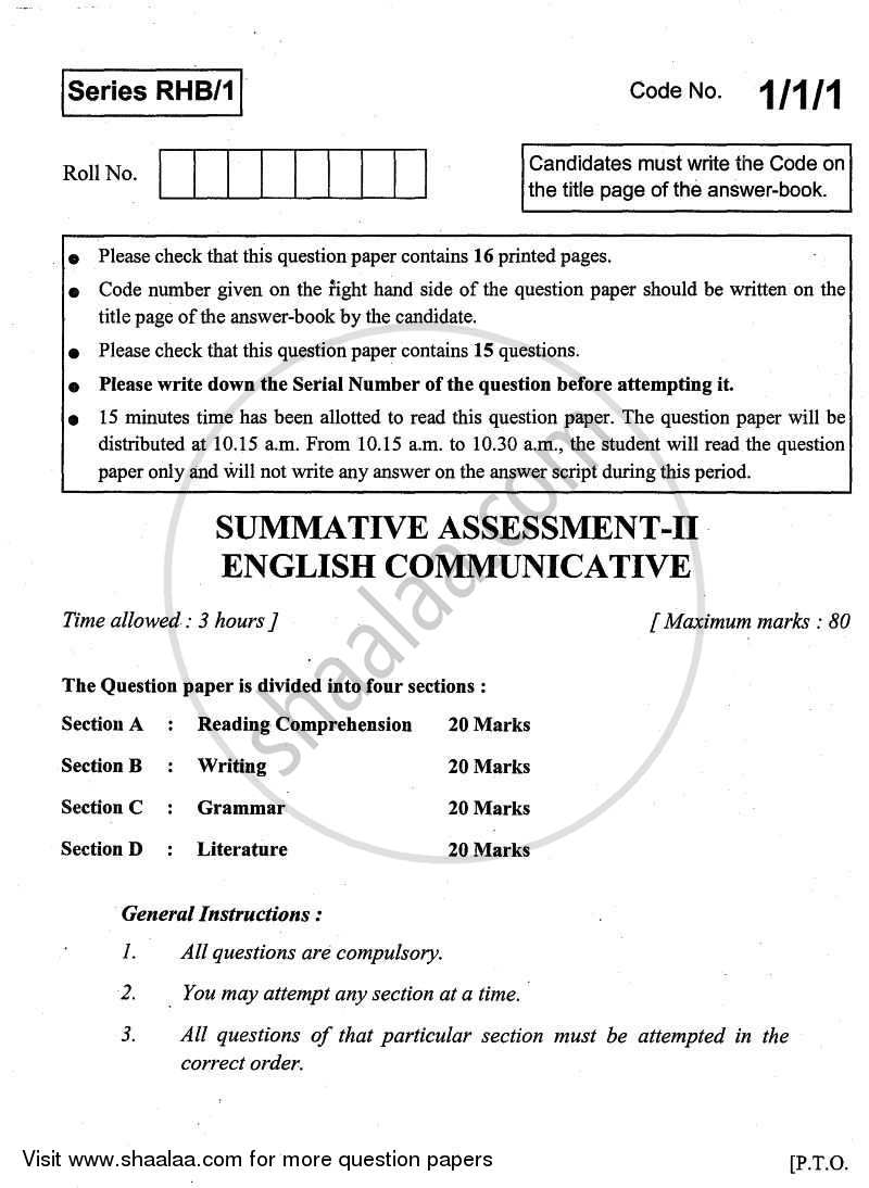 English - Communicative 2010-2011 Class 10 - CBSE (Central Board of Secondary Education) question paper with PDF download