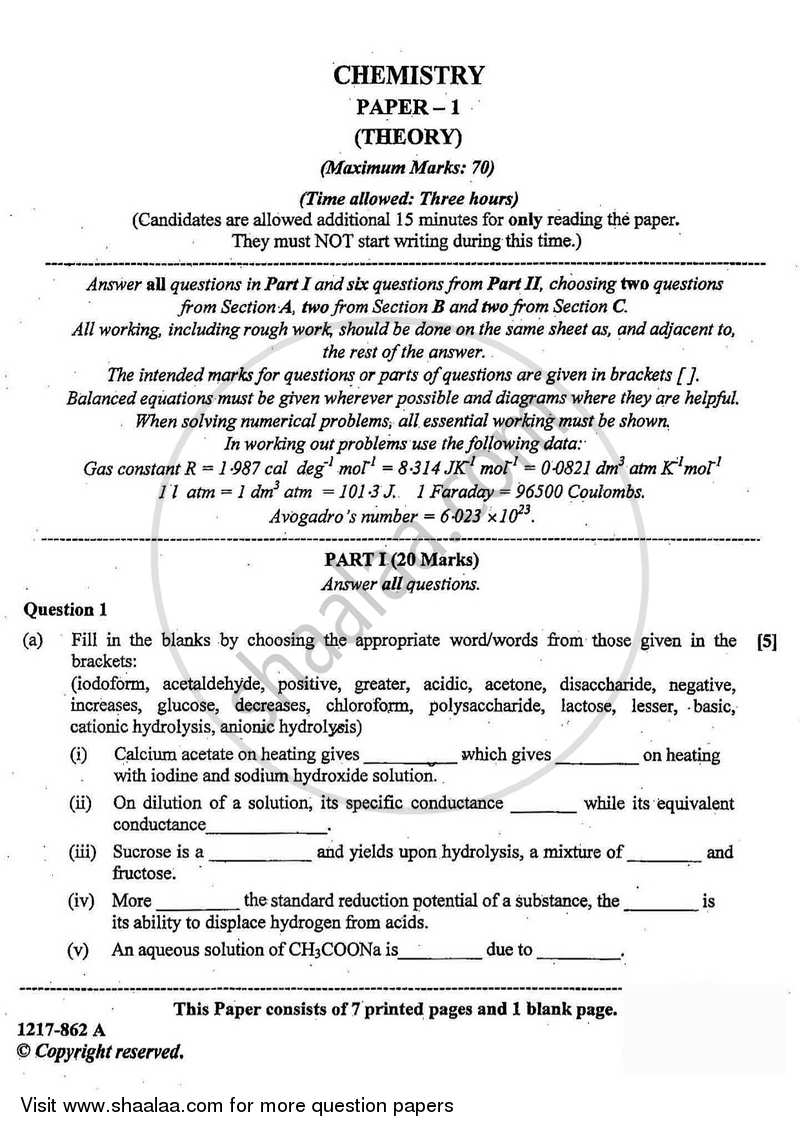 Chemistry (Theory) 2016-2017 ISC (Science) Class 12 question