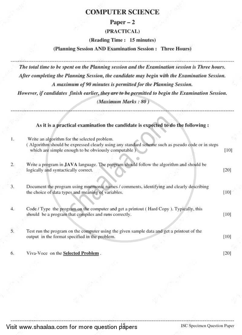 Question Paper - Computer Science (Practical) 2010 - 2011 - I.S.C. - Class 12 - CISCE (Council for the Indian School Certificate Examinations)
