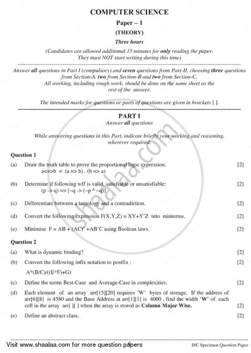 Question Paper - Computer Science (Theory) 2010 - 2011 - I.S.C. - Class 12 - CISCE (Council for the Indian School Certificate Examinations)
