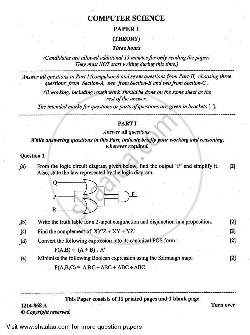 Question Paper - Computer Science (Theory) 2013-2014 - I.S.C. - Class 12 - CISCE (Council for the Indian School Certificate Examinations) with PDF download