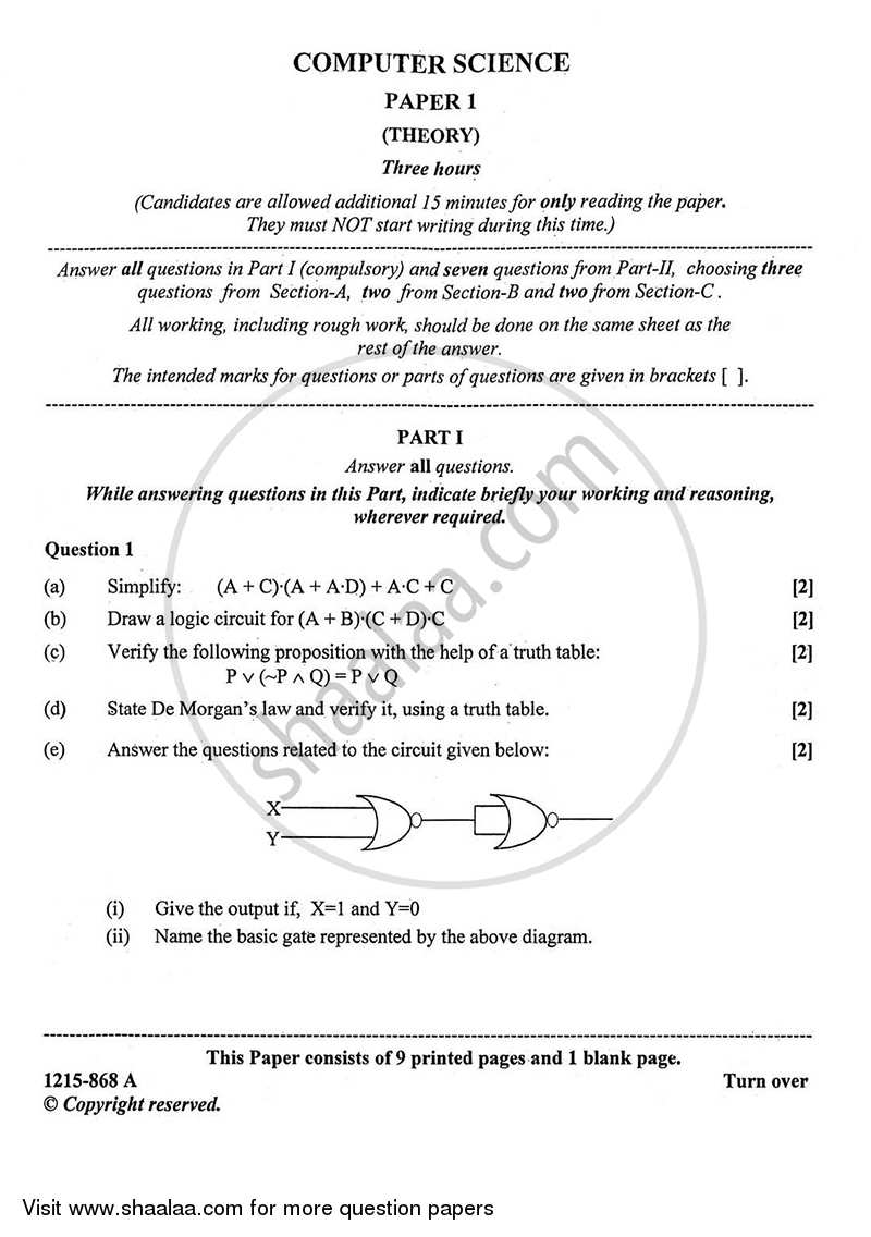 Question Paper - Computer Science (Theory) 2014 - 2015 - I.S.C. - Class 12 - CISCE (Council for the Indian School Certificate Examinations)