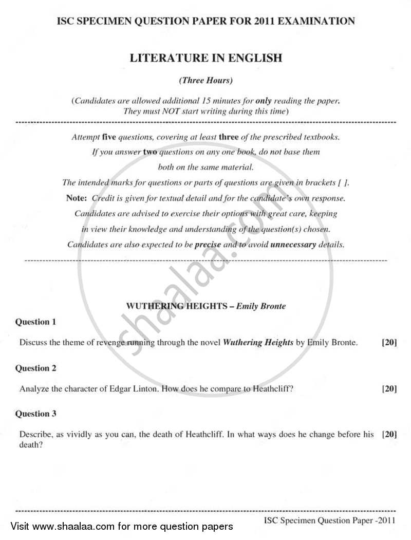 Question Paper - Elective English 2010 - 2011 - I.S.C. - Class 12 - CISCE (Council for the Indian School Certificate Examinations)