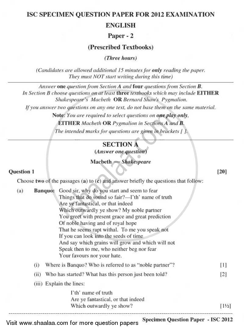 Question Paper - English (Literature in English) 2010 - 2011 - I.S.C. - Class 12 - CISCE (Council for the Indian School Certificate Examinations)
