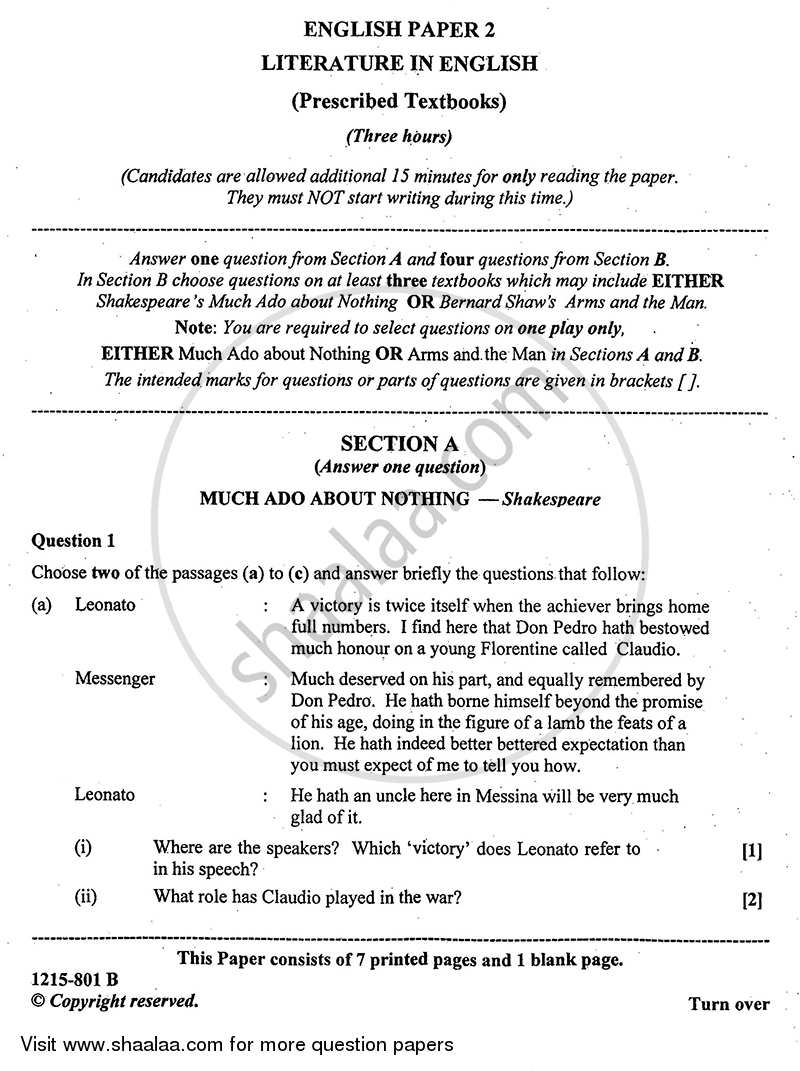 Question Paper - English (Literature in English) 2014 - 2015 - I.S.C. - Class 12 - CISCE (Council for the Indian School Certificate Examinations)