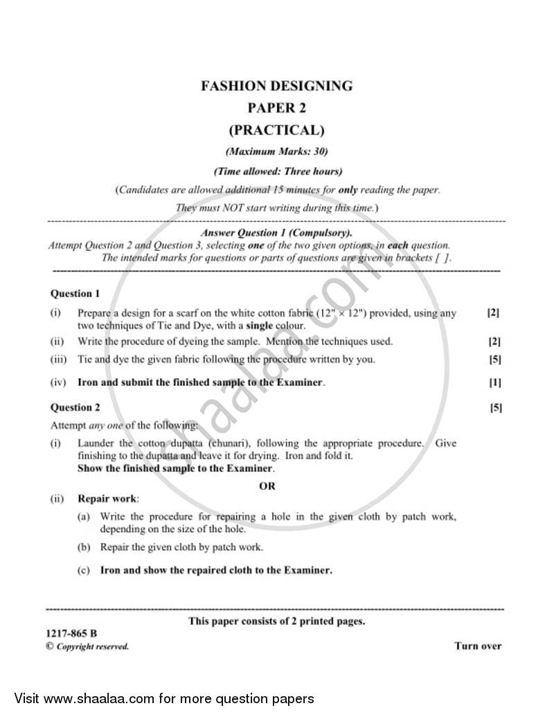 Fashion Designing Practical 2016 2017 Isc Commerce Class 12 Set 1 Question Paper With Pdf Download Shaalaa Com