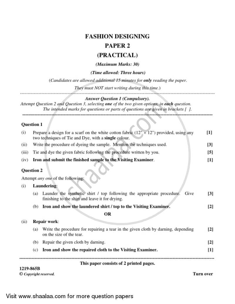 Fashion Designing Practical 2018 2019 Isc Science Class 12 Set 1 Question Paper With Pdf Download Shaalaa Com