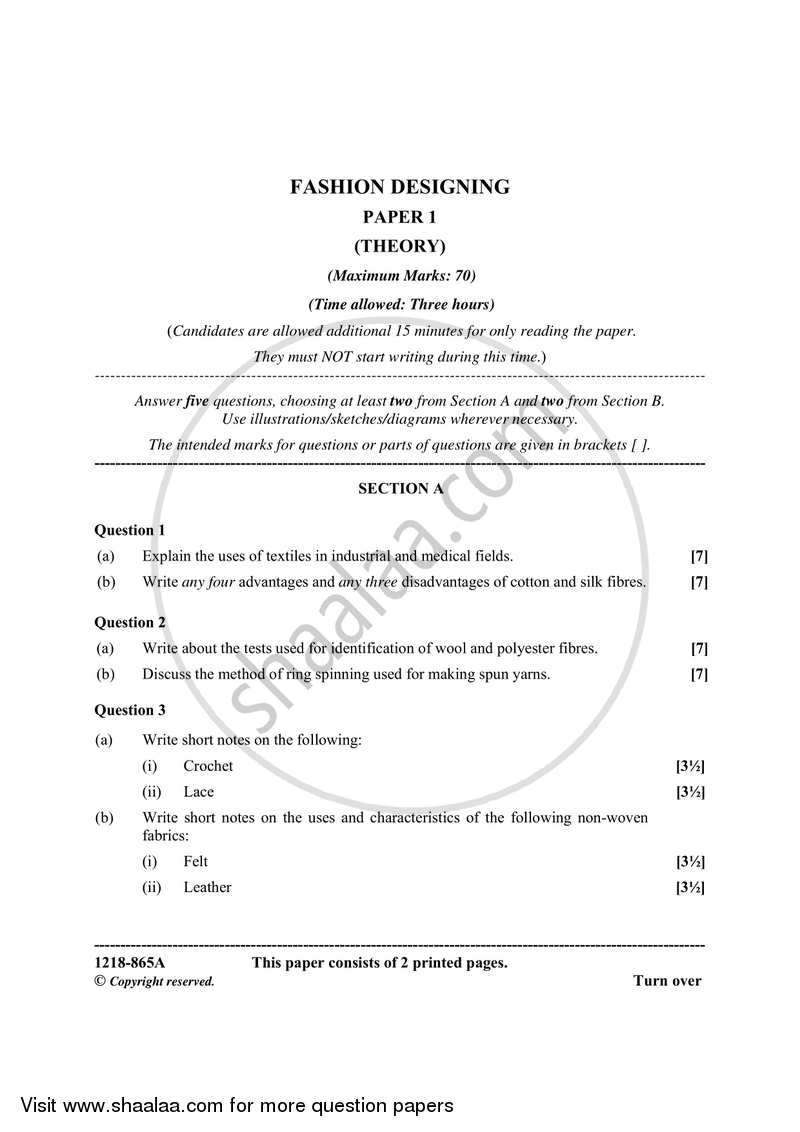 Fashion Designing Theory 2017 2018 Isc Commerce Class 12 Set 1 Question Paper With Pdf Download Shaalaa Com