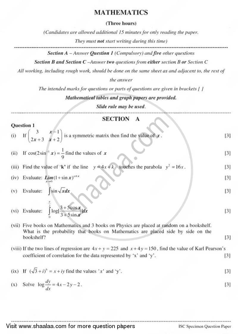 Question Paper - Mathematics 2010 - 2011 - I.S.C. - Class 12 - CISCE (Council for the Indian School Certificate Examinations)