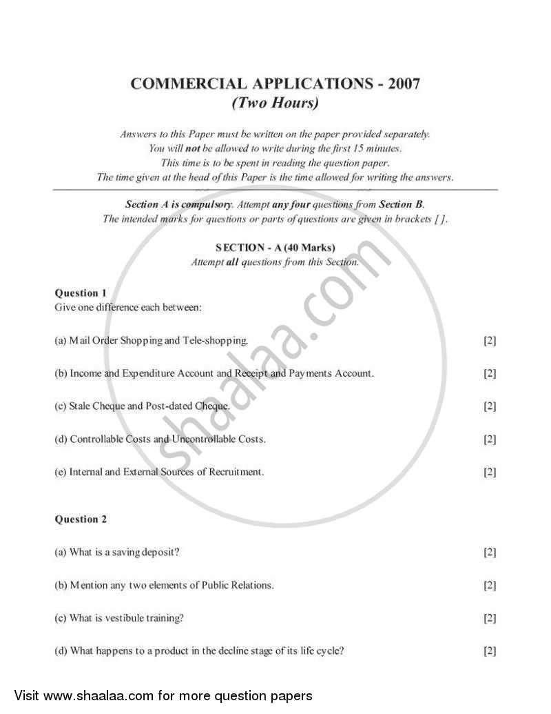 Commercial Applications 2006-2007 - I.C.S.E. - Class 10 - CISCE (Council for the Indian School Certificate Examinations) question paper with PDF download