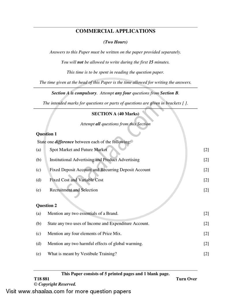 Question Paper - Commercial Applications 2017-2018 - I.C.S.E. - Class 10 - CISCE (Council for the Indian School Certificate Examinations) with PDF download