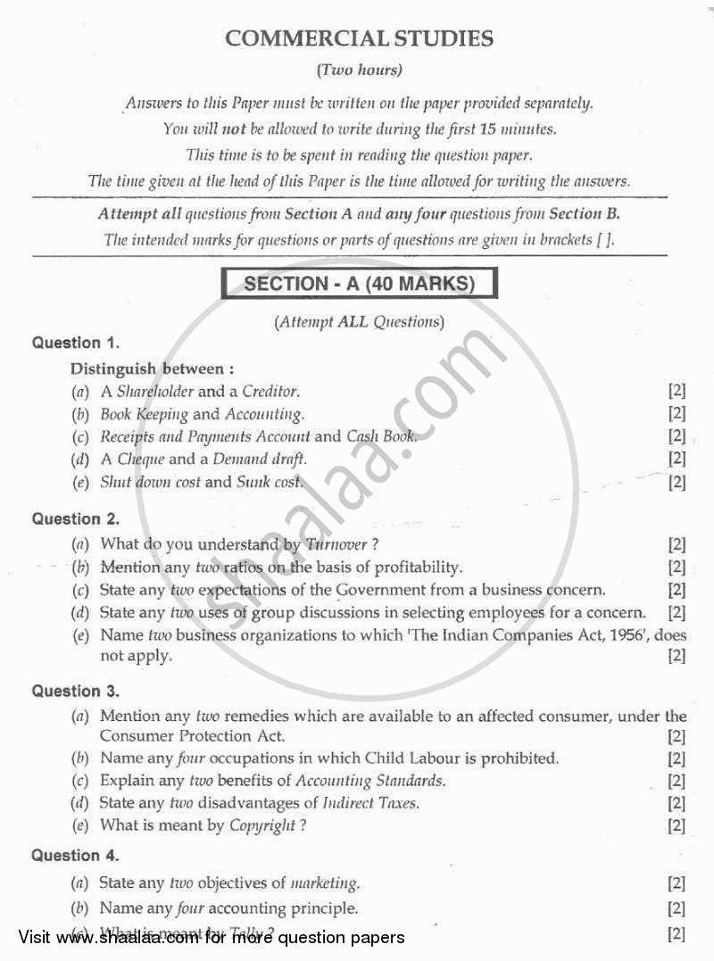 Question Paper - Commercial Studies 2009 - 2010 - I.C.S.E. - Class 10 - CISCE (Council for the Indian School Certificate Examinations)