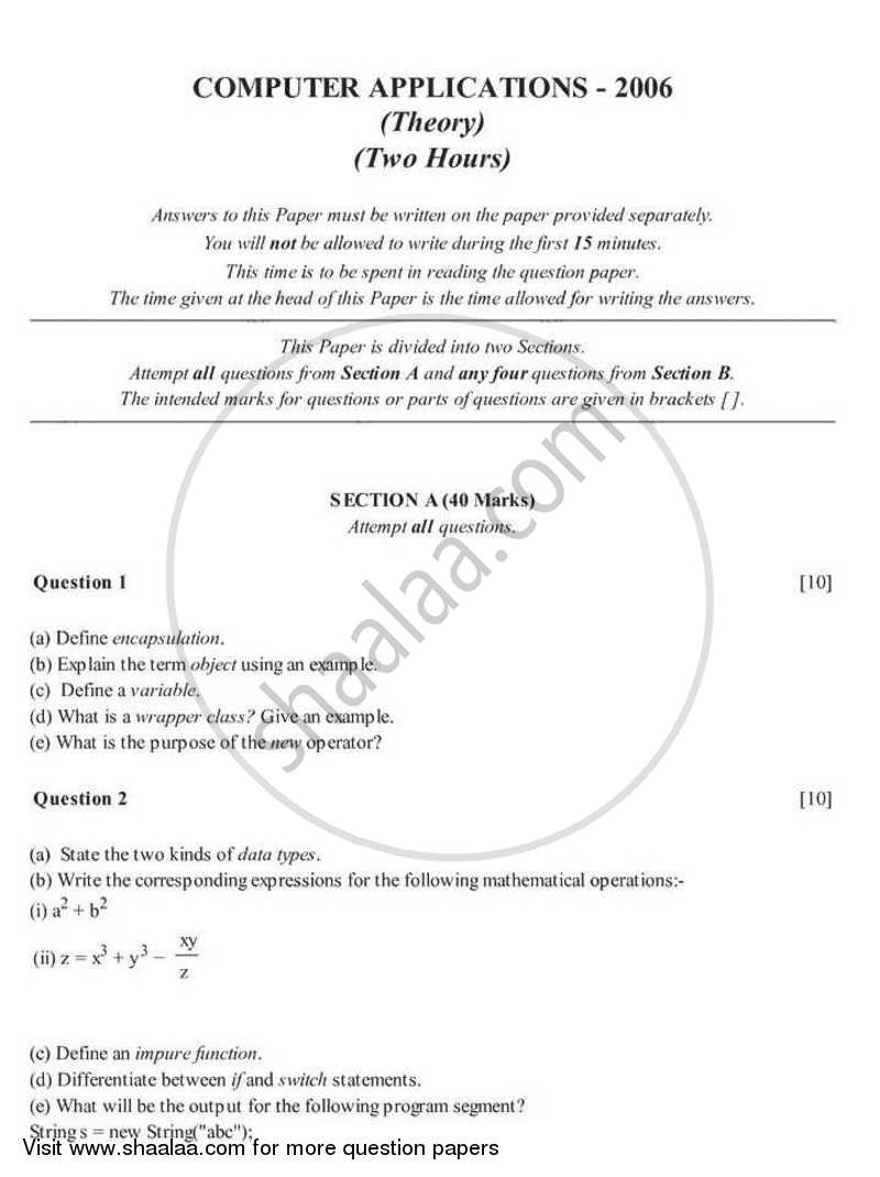 Computer Applications 2005-2006 - I.C.S.E. - Class 10 - CISCE (Council for the Indian School Certificate Examinations) question paper with PDF download