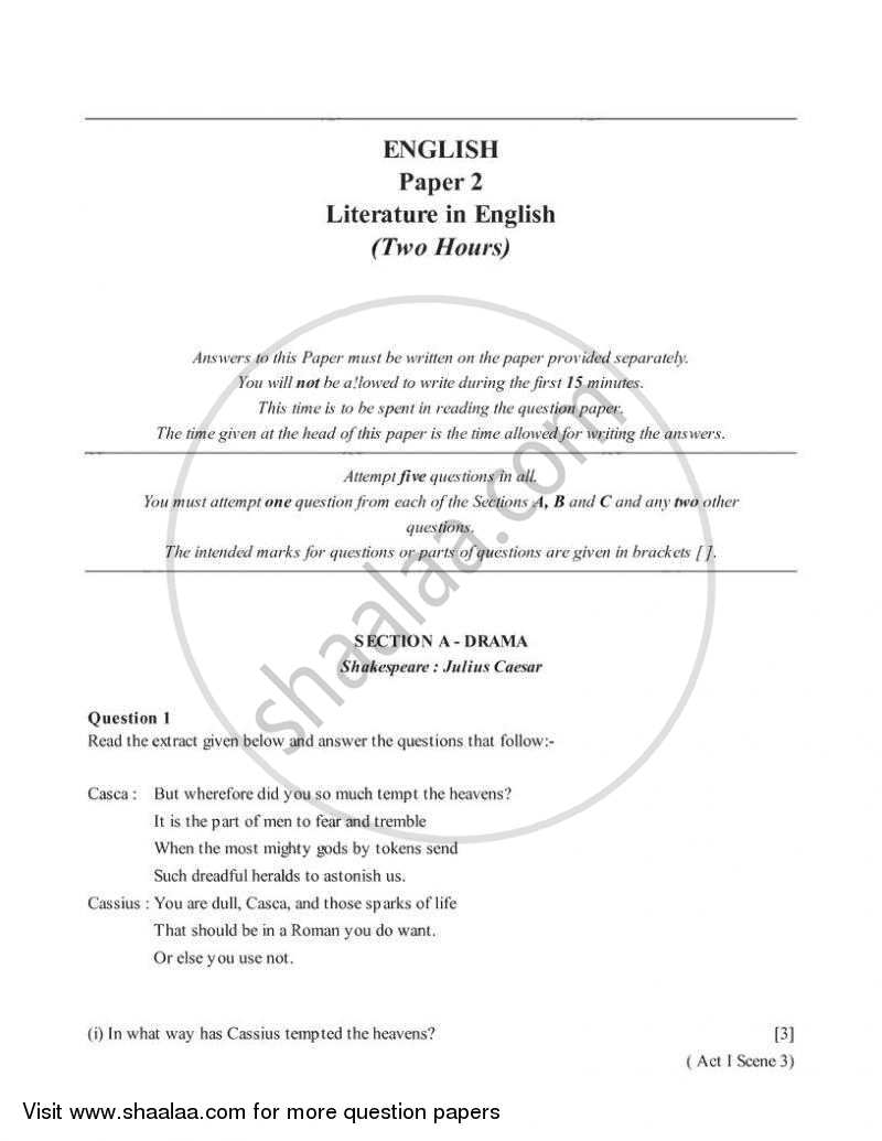 English 2 (Literature in English) 2005-2006 - I.C.S.E. - Class 10 - CISCE (Council for the Indian School Certificate Examinations) question paper with PDF download