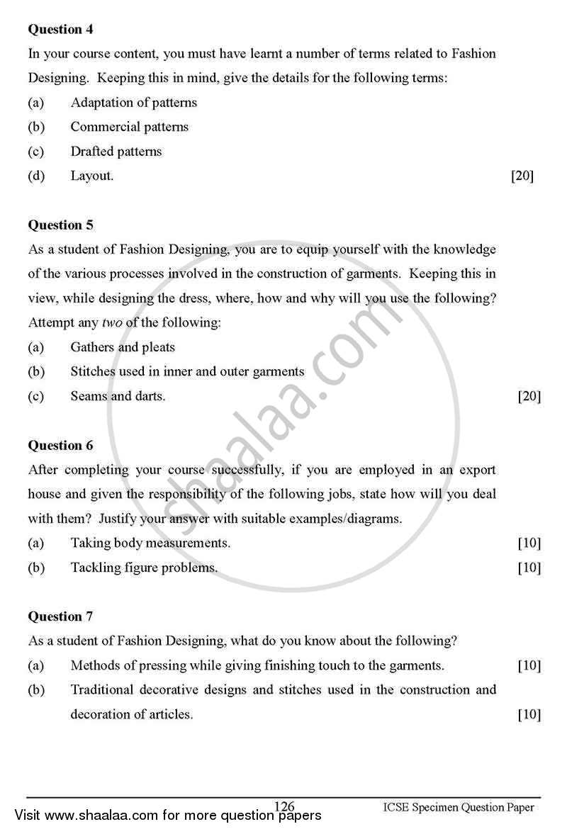 Fashion Designing 2012 2013 Icse Class 10 Question Paper With Pdf Download Shaalaa Com