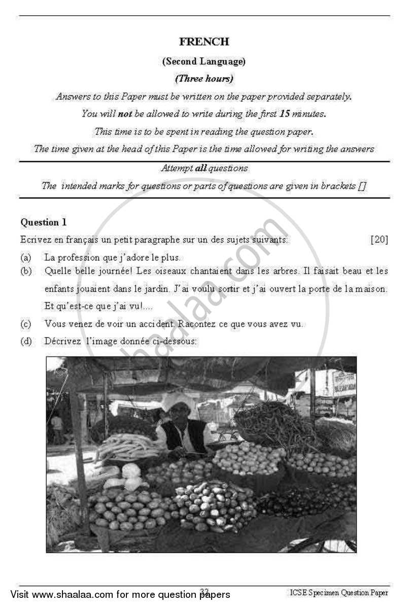 French 2012-2013 - I.C.S.E. - Class 10 - CISCE (Council for the Indian School Certificate Examinations) question paper with PDF download