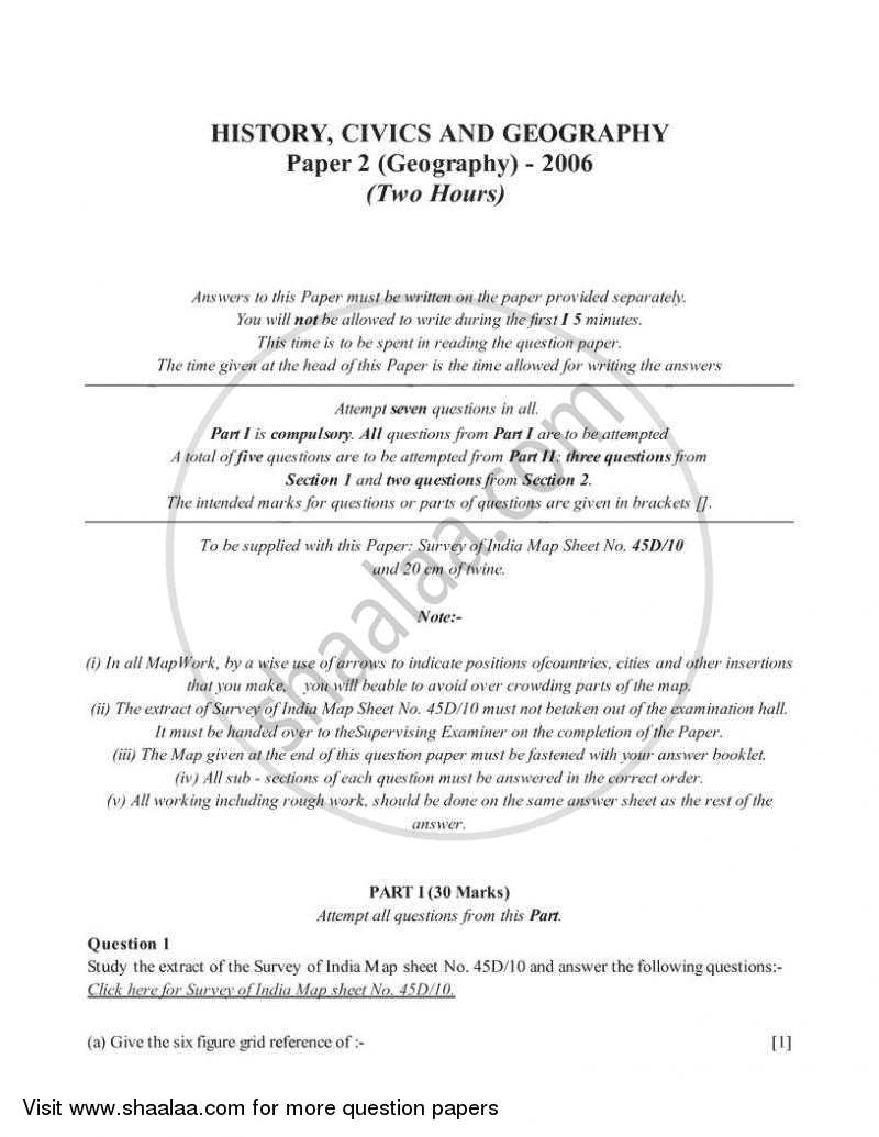 Geography 2005-2006 ICSE Class 10 question paper with PDF download