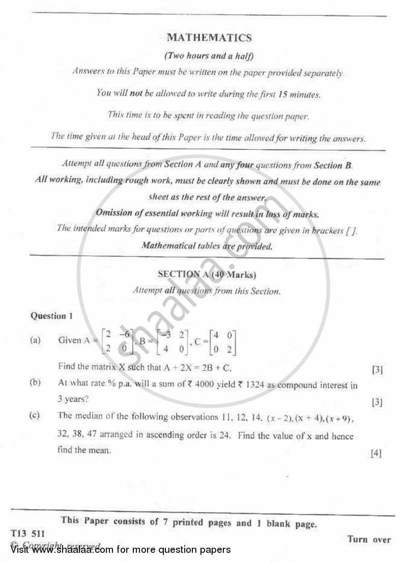 Mathematics 2012-2013 ICSE Class 10 Set 2 question paper with PDF