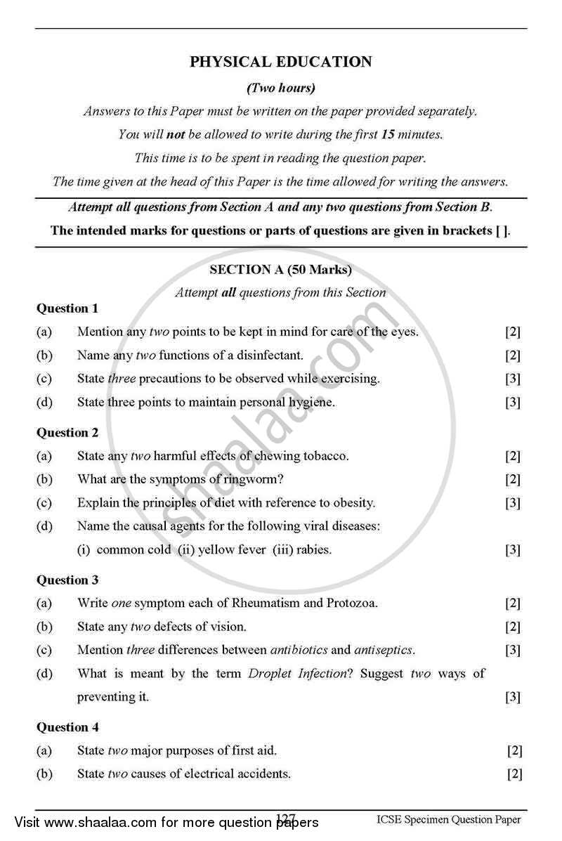 Physical Education 2012-2013 - I.C.S.E. - Class 10 - CISCE (Council for the Indian School Certificate Examinations) question paper with PDF download